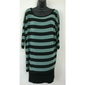 Bailey 44 Blue Black Striped Stretch Scoop Dress M